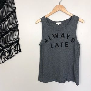 """Sundry """"Always Late"""" Heather Gray Graphic Tank Top"""